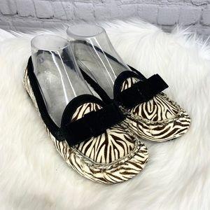 Cole Haan Zebra Calf Hair Bow Moccasin Flats